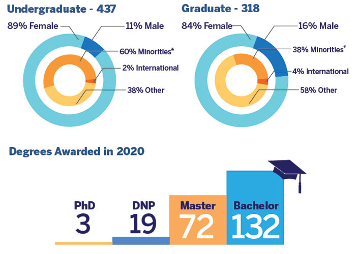 437 Undergraduate - 89% Female, and 11% Male - 60% Minorities, 2% International, and 38% Other; 318 Graduate - 84% Female, and 16% Male - 38% Minorities, 4% International, and 58% Other; Degree Awarded in 2020 - 3 PhD, 19 DNP, 72 Master, and 132 Bachelor