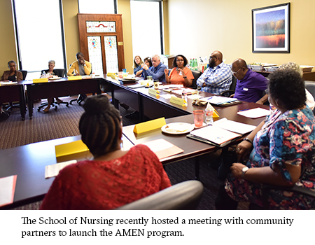 The School of Nursing recently hosted a meeting with community partners to launch the AMEN program.
