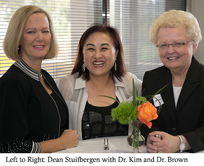 Dean Stuifbergen with Dr. Kim and Dr. Brown