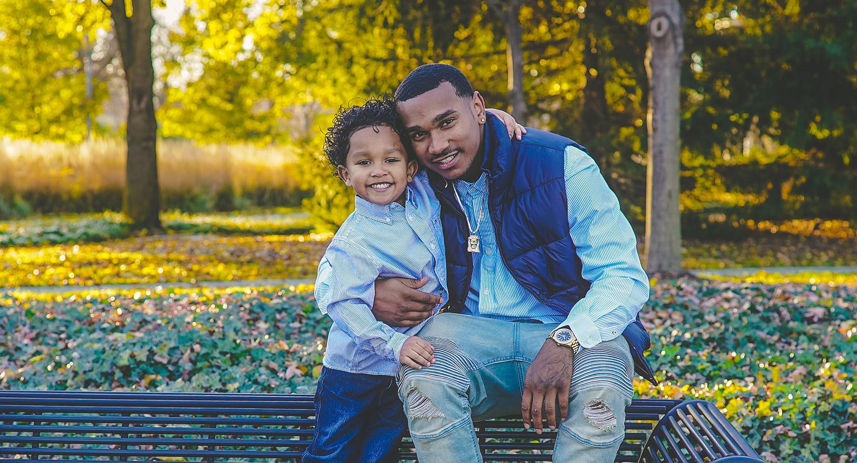 African American Man with his son